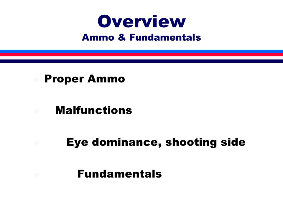 Overview Ammo & Fundamentals l Proper Ammo l Malfunctions l Eye dominance, shooting side l Fundamentals