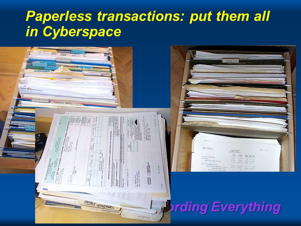 Recording Everything Paperless transactions: put them all in Cyberspace