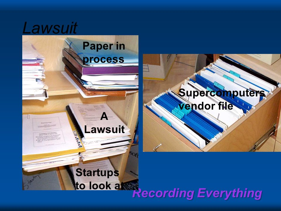 Recording Everything A Lawsuit Lawsuit Paper in process Supercomputers vendor file Startups to look at