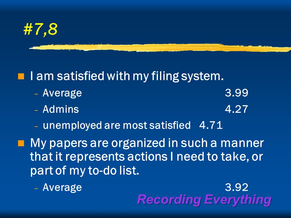 Recording Everything #7,8 I am satisfied with my filing system.