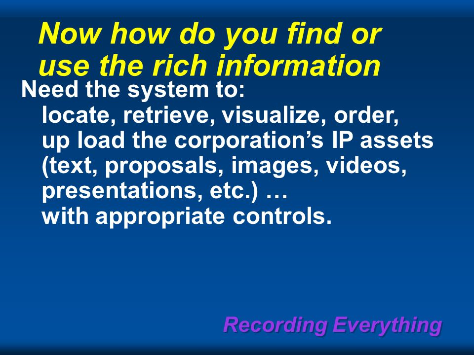 Recording Everything Now how do you find or use the rich information Need the system to: locate, retrieve, visualize, order, up load the corporation's IP assets (text, proposals, images, videos, presentations, etc.) … with appropriate controls.