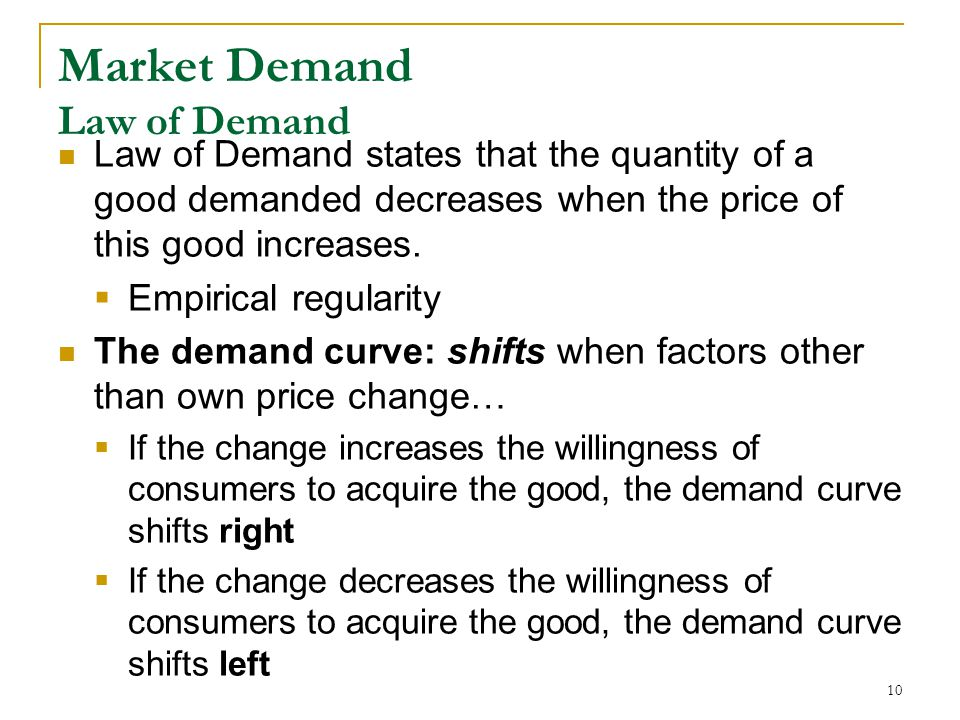 Market Demand Law of Demand Law of Demand states that the quantity of a good demanded decreases when the price of this good increases.
