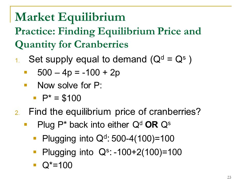 Market Equilibrium Practice: Finding Equilibrium Price and Quantity for Cranberries 1.