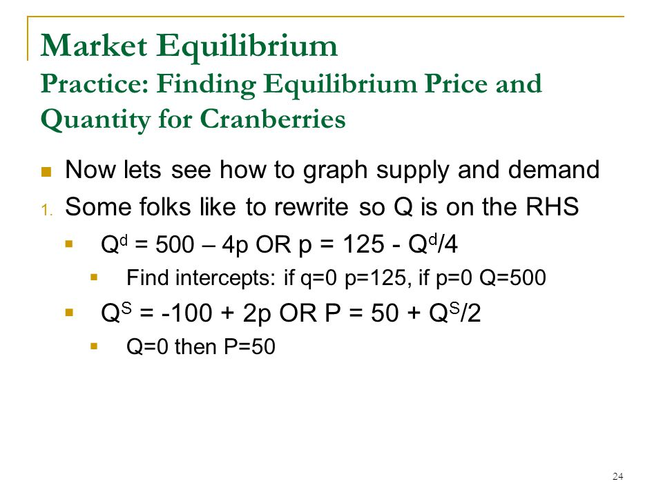 Market Equilibrium Practice: Finding Equilibrium Price and Quantity for Cranberries Now lets see how to graph supply and demand 1.
