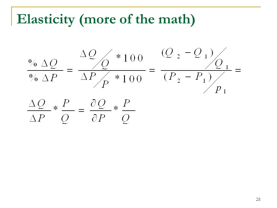 Elasticity (more of the math) 28