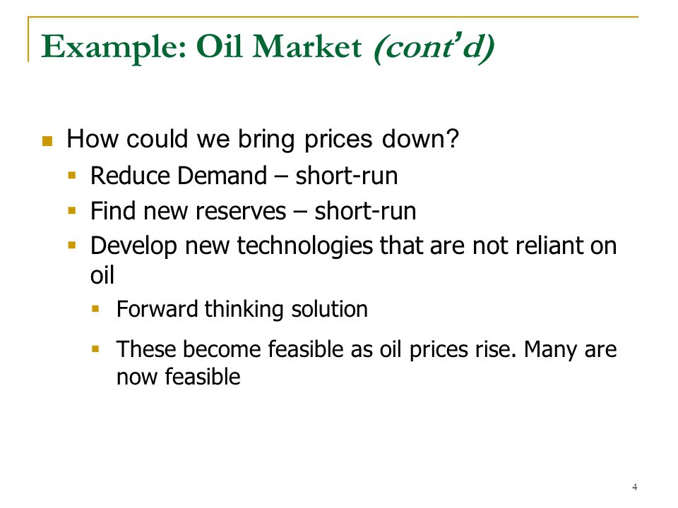 Example: Oil Market (cont ' d) How could we bring prices down.