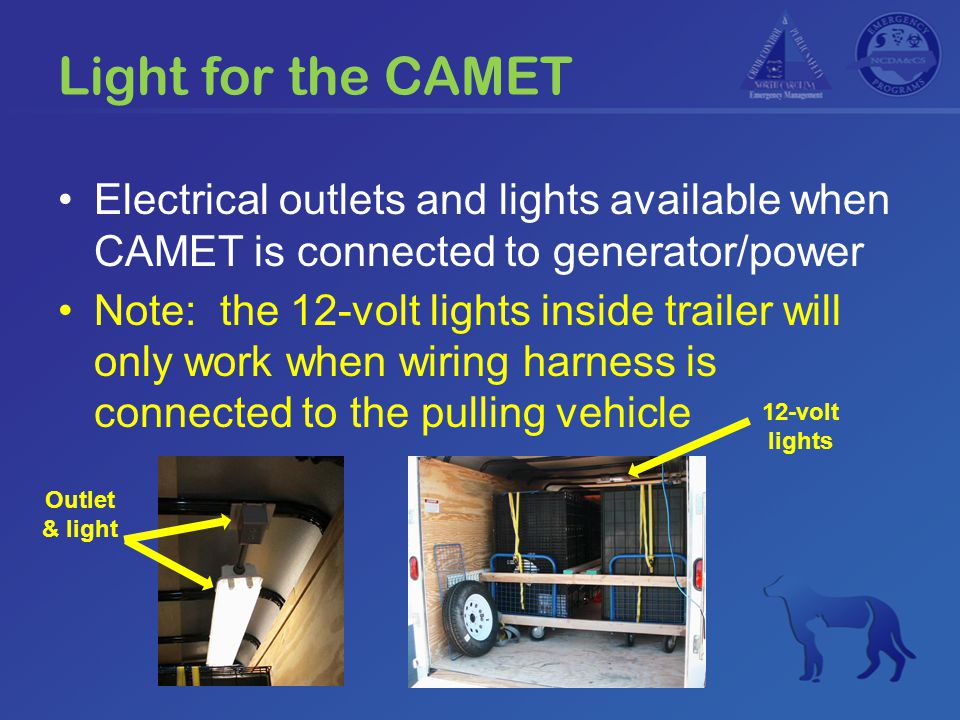 Light for the CAMET Electrical outlets and lights available when CAMET is connected to generator/power Note: the 12-volt lights inside trailer will on