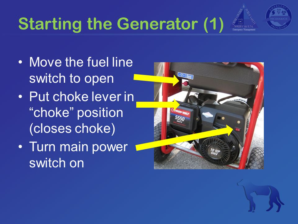 "Starting the Generator (1) Move the fuel line switch to open Put choke lever in ""choke"" position (closes choke) Turn main power switch on"