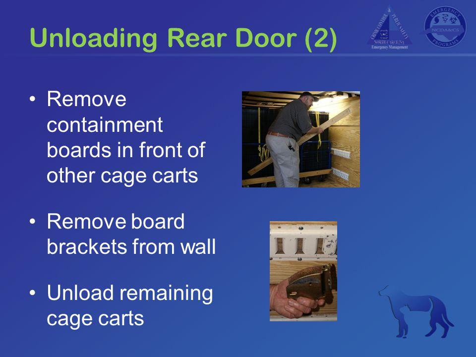 Unloading Rear Door (2) Remove containment boards in front of other cage carts Remove board brackets from wall Unload remaining cage carts
