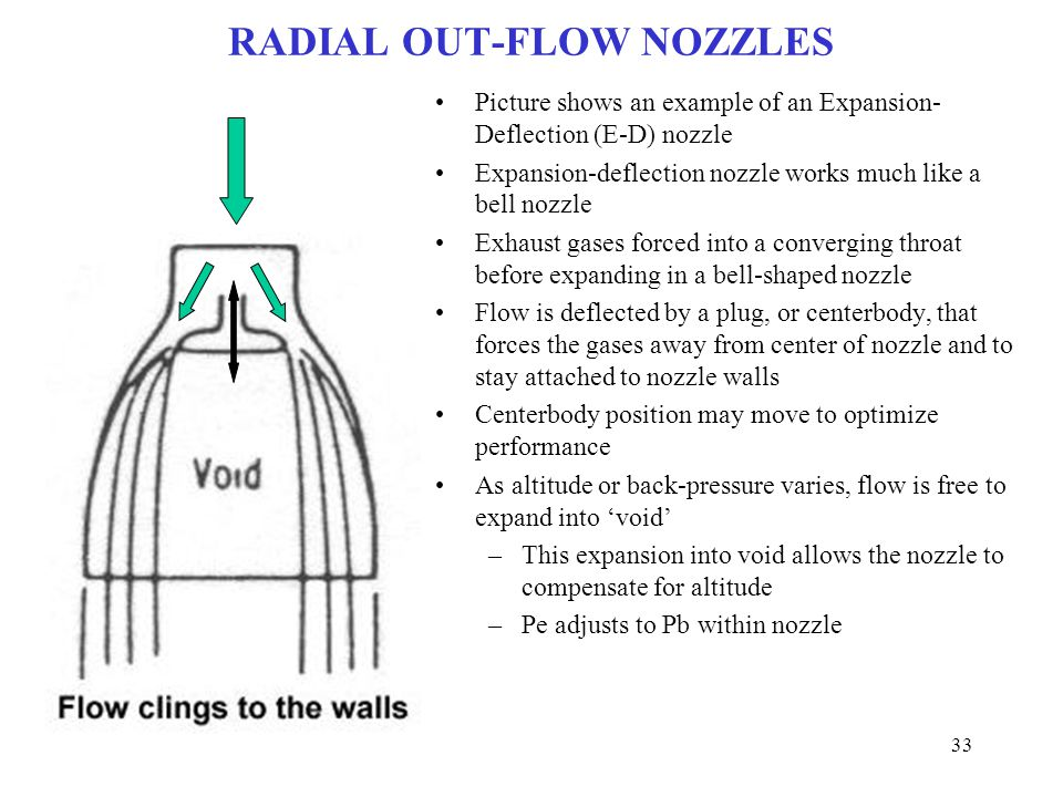RADIAL OUT-FLOW NOZZLES Picture shows an example of an Expansion- Deflection (E-D) nozzle Expansion-deflection nozzle works much like a bell nozzle Ex