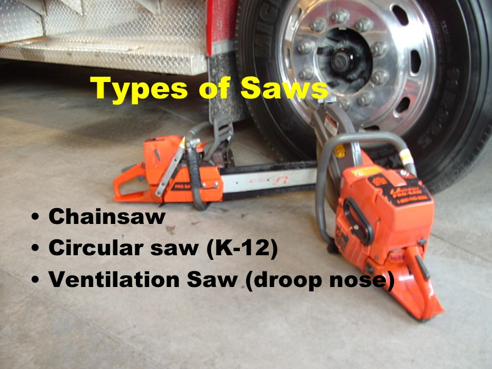 Types of Saws Chainsaw Circular saw (K-12) Ventilation Saw (droop nose)