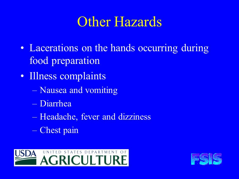 Other Hazards Lacerations on the hands occurring during food preparation Illness complaints –Nausea and vomiting –Diarrhea –Headache, fever and dizziness –Chest pain