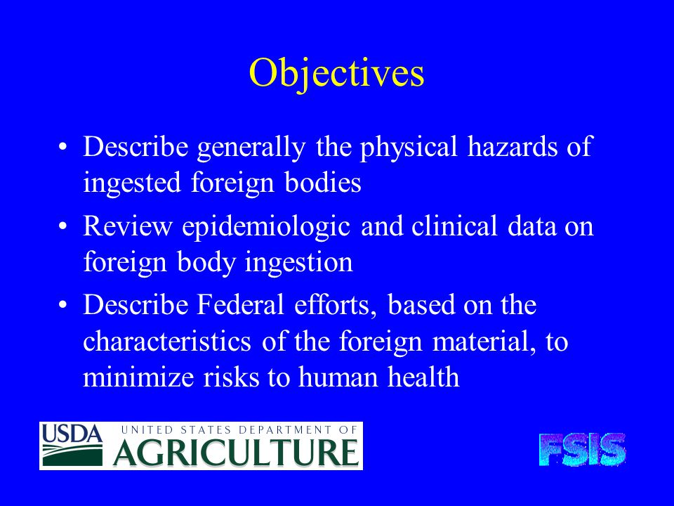 Objectives Describe generally the physical hazards of ingested foreign bodies Review epidemiologic and clinical data on foreign body ingestion Describe Federal efforts, based on the characteristics of the foreign material, to minimize risks to human health