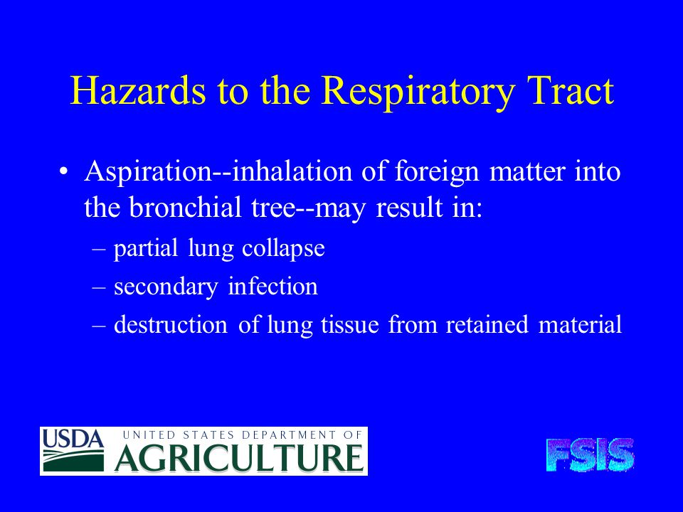 Hazards to the Respiratory Tract Aspiration--inhalation of foreign matter into the bronchial tree--may result in: –partial lung collapse –secondary infection –destruction of lung tissue from retained material