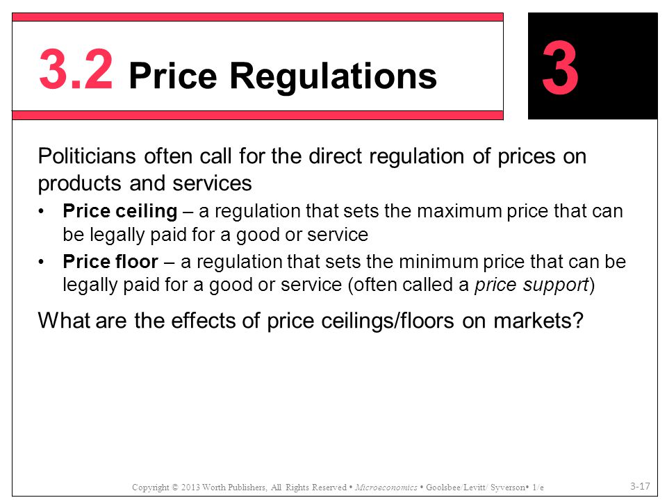 3.2 Price Regulations Copyright © 2013 Worth Publishers, All Rights Reserved  Microeconomics  Goolsbee/Levitt/ Syverson  1/e 3-17 Politicians often