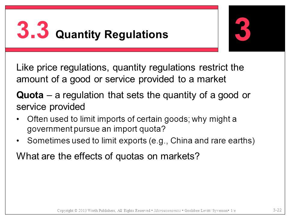 3.3 Quantity Regulations Copyright © 2013 Worth Publishers, All Rights Reserved  Microeconomics  Goolsbee/Levitt/ Syverson  1/e 3-22 Like price reg