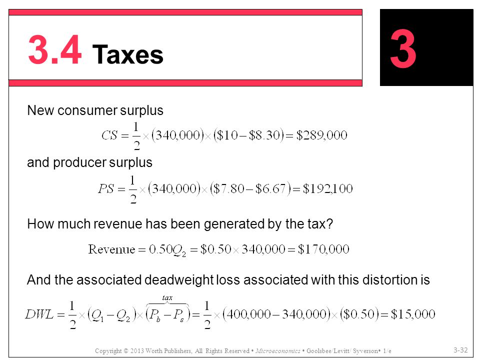 3.4 Taxes Copyright © 2013 Worth Publishers, All Rights Reserved  Microeconomics  Goolsbee/Levitt/ Syverson  1/e 3-32 New consumer surplus and prod