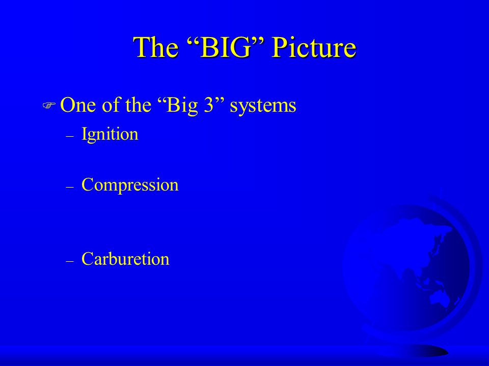 The BIG Picture F One of the Big 3 systems – Ignition – Compression – Carburetion