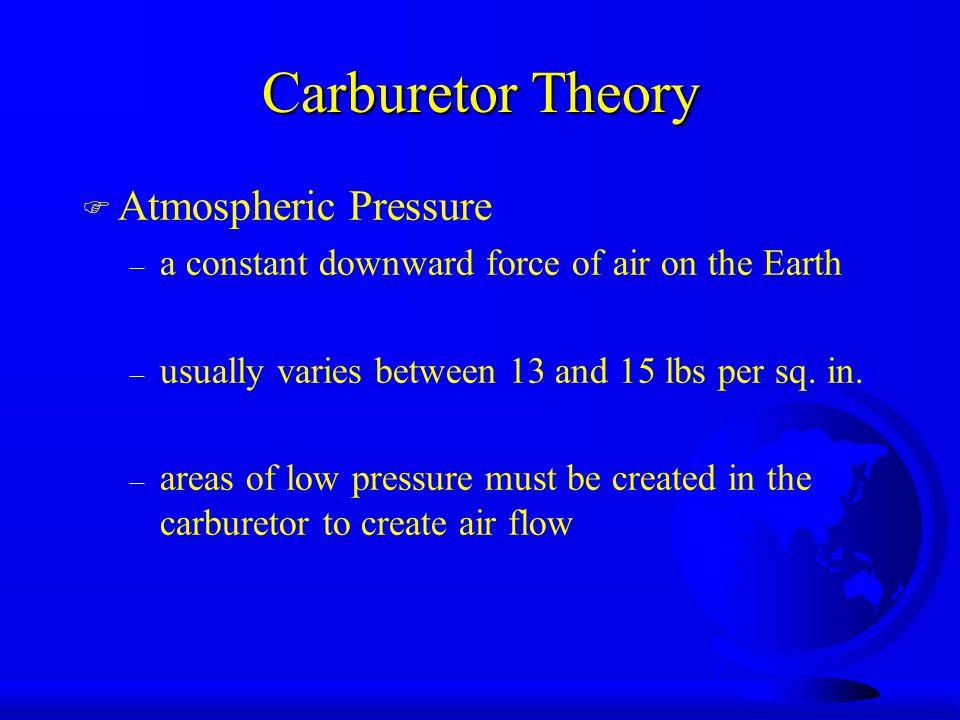 Vacu-Jet Carburetors F Fuel tank is below the carburetor u Again, atmospheric pressure is employed to help get the fuel to the carburetor.