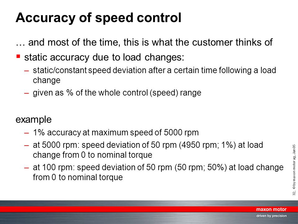 32, © by maxon motor ag, Jan 05 Accuracy of speed control … and most of the time, this is what the customer thinks of  static accuracy due to load ch
