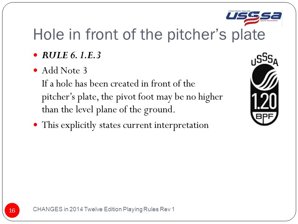 Hole in front of the pitcher's plate CHANGES in 2014 Twelve Edition Playing Rules Rev 1 16 RULE 6.
