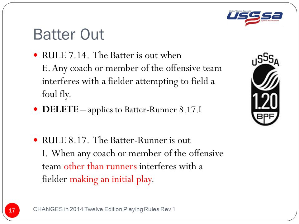 Batter Out CHANGES in 2014 Twelve Edition Playing Rules Rev 1 17 RULE 7.14.