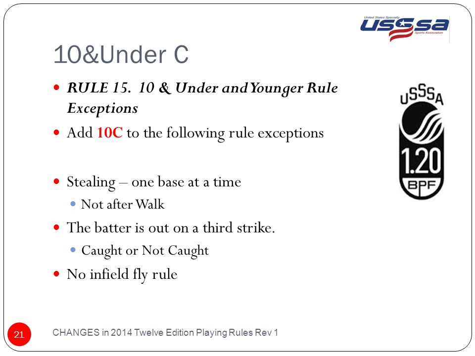 10&Under C CHANGES in 2014 Twelve Edition Playing Rules Rev 1 21 RULE 15.