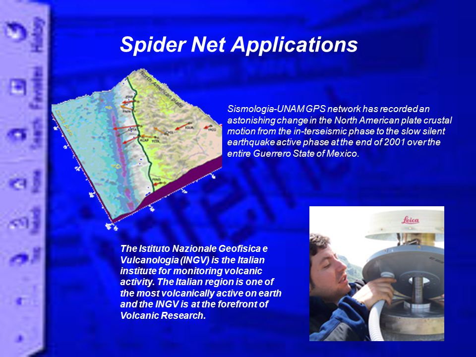 Spider Net Applications Sismologia-UNAM GPS network has recorded an astonishing change in the North American plate crustal motion from the in-terseismic phase to the slow silent earthquake active phase at the end of 2001 over the entire Guerrero State of Mexico.