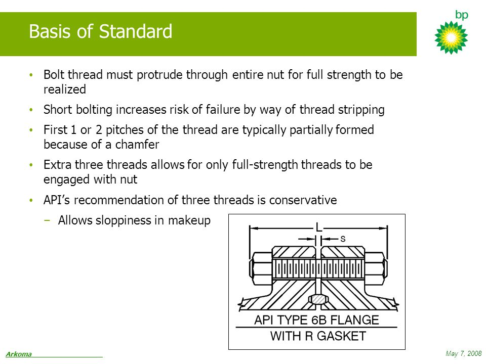 Arkoma May 7, 2008 Basis of Standard Bolt thread must protrude through entire nut for full strength to be realized Short bolting increases risk of failure by way of thread stripping First 1 or 2 pitches of the thread are typically partially formed because of a chamfer Extra three threads allows for only full-strength threads to be engaged with nut API's recommendation of three threads is conservative − Allows sloppiness in makeup