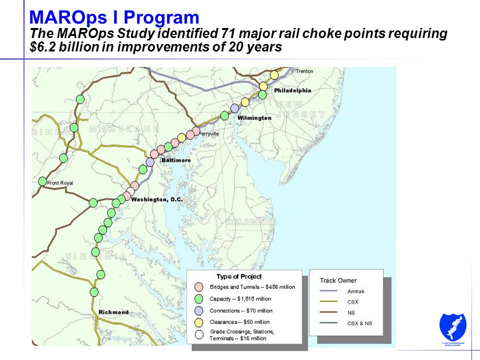9 MAROps I Program The MAROps Study identified 71 major rail choke points requiring $6.2 billion in improvements of 20 years Source: Cambridge Systema