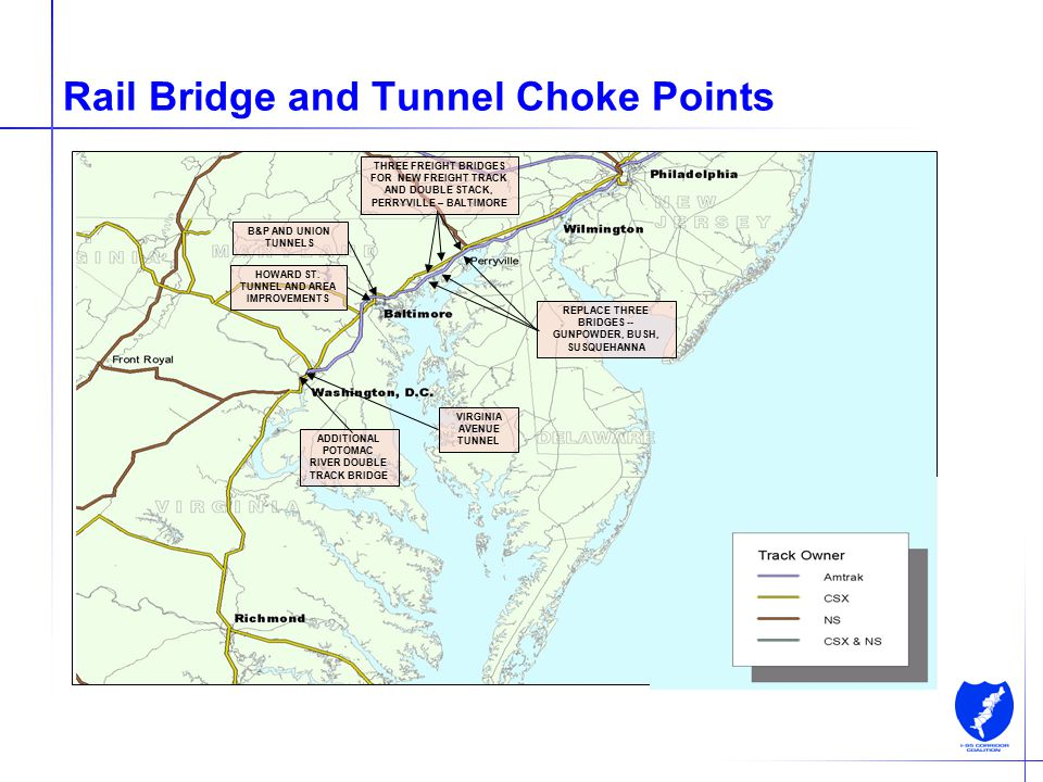 11 Rail Bridge and Tunnel Choke Points ADDITIONAL POTOMAC RIVER DOUBLE TRACK BRIDGE HOWARD ST. TUNNEL AND AREA IMPROVEMENTS THREE FREIGHT BRIDGES FOR