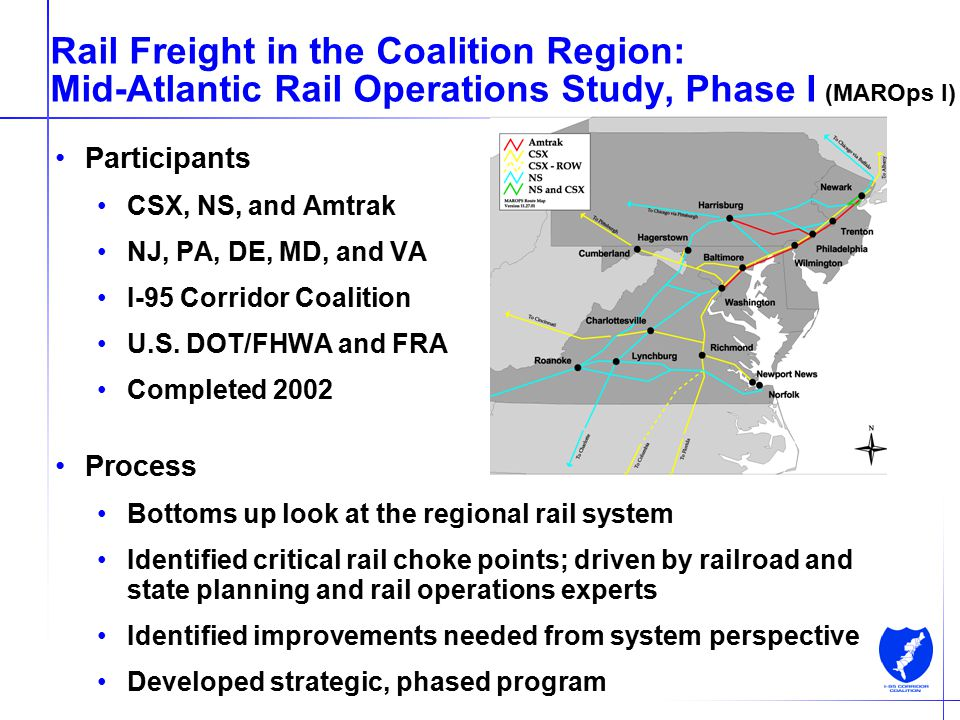 8 Rail Freight in the Coalition Region: Mid-Atlantic Rail Operations Study, Phase I (MAROps I) Participants CSX, NS, and Amtrak NJ, PA, DE, MD, and VA