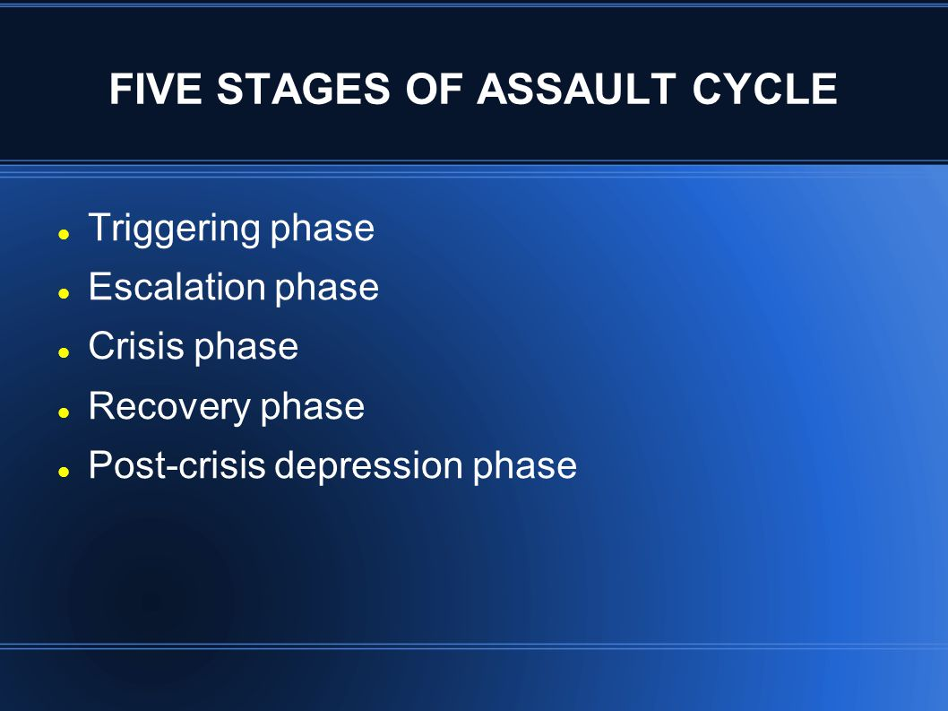 FIVE STAGES OF ASSAULT CYCLE Triggering phase Escalation phase Crisis phase Recovery phase Post-crisis depression phase