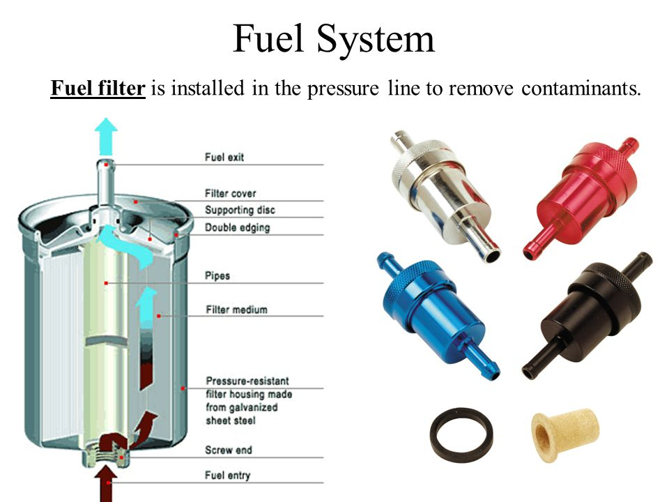 Fuel System Fuel filter is installed in the pressure line to remove contaminants.