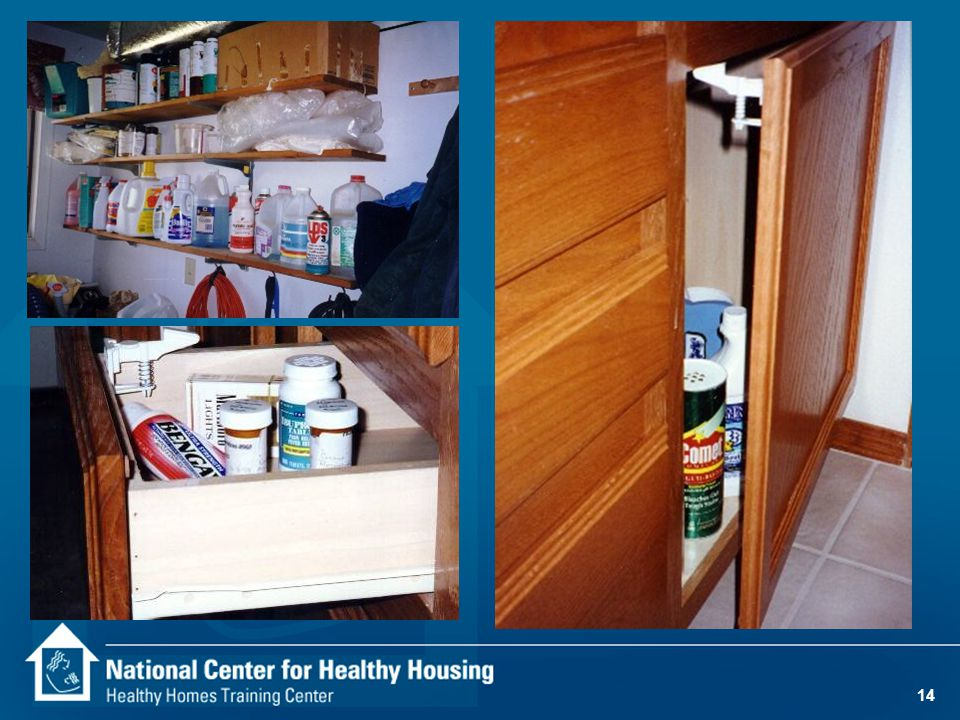 13 Poisoning 82% of households keep medicines in unlocked drawers or cabinets. 69% of homes with young children store household chemicals in unlocked