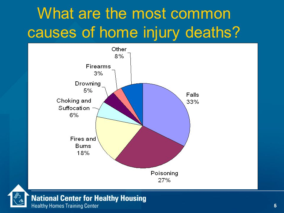 4 Safety-Related Housing Issues n Holes big enough to trip on — 1.0 % of homes have holes in floors — 2.5% in mobile homes — 2.7% for residents below