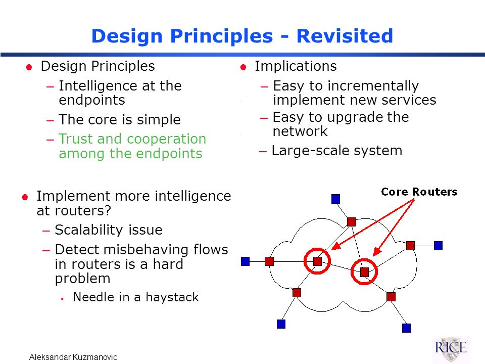Aleksandar Kuzmanovic Design Principles - Revisited l Design Principles –Intelligence at the endpoints –The core is simple –Trust and cooperation among the endpoints l Implications –Malicious clients may misuse the intelligence.