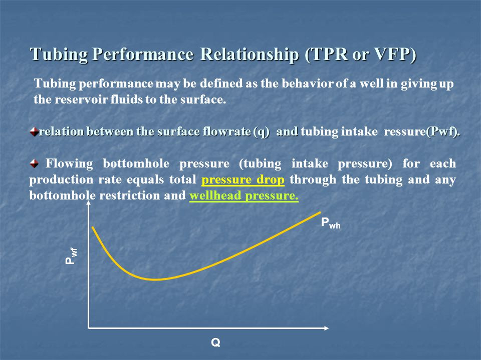 Tubing Performance Relationship (TPR or VFP) Tubing performance may be defined as the behavior of a well in giving up the reservoir fluids to the surf