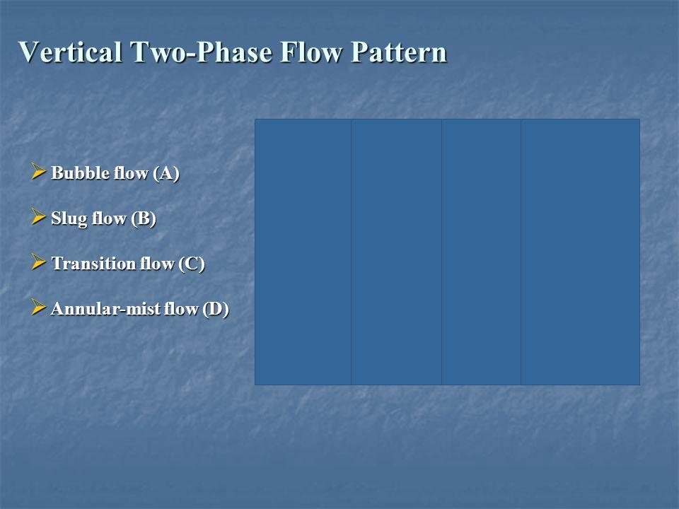 Vertical Two-Phase Flow Pattern  Bubble flow (A)  Slug flow (B)  Transition flow (C)  Annular-mist flow (D)