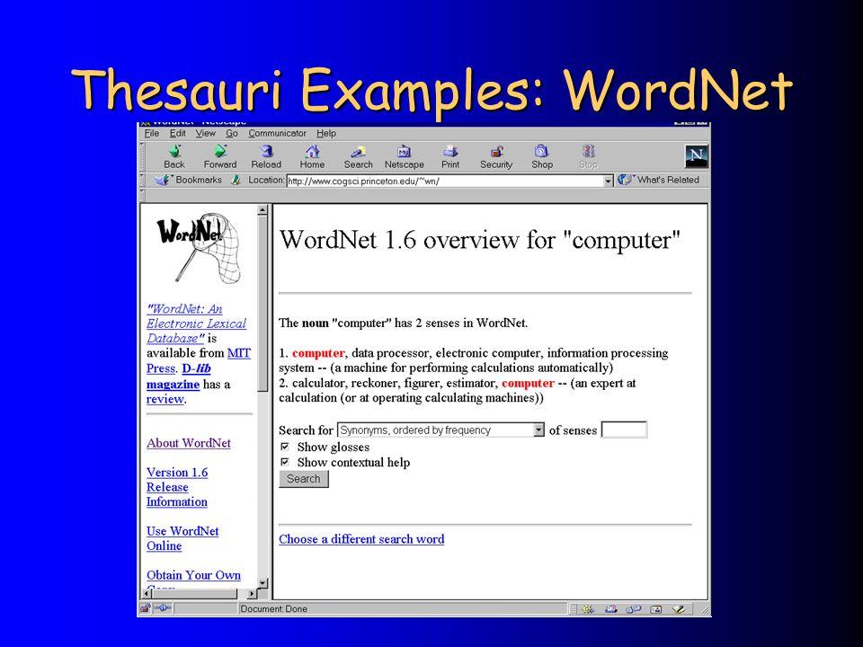 Thesauri Examples: WordNet