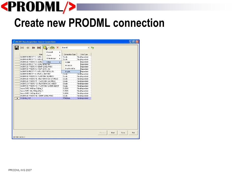PRODML WG 2007 View query template and results