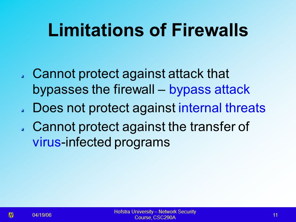 04/19/06 Hofstra University – Network Security Course, CSC290A 11 Limitations of Firewalls Cannot protect against attack that bypasses the firewall – bypass attack Does not protect against internal threats Cannot protect against the transfer of virus-infected programs