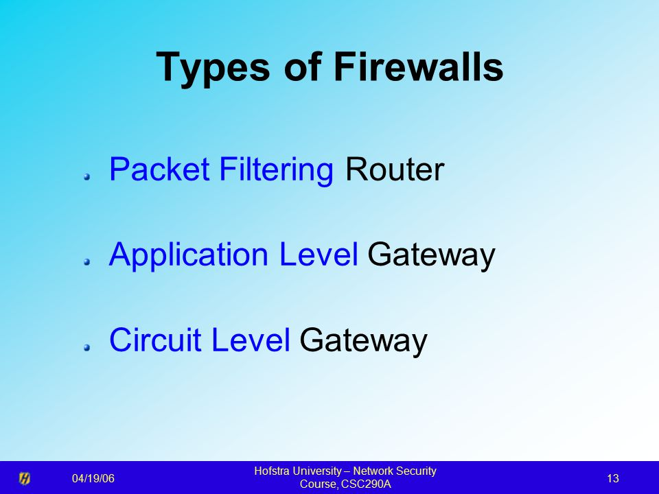 04/19/06 Hofstra University – Network Security Course, CSC290A 13 Types of Firewalls Packet Filtering Router Application Level Gateway Circuit Level Gateway