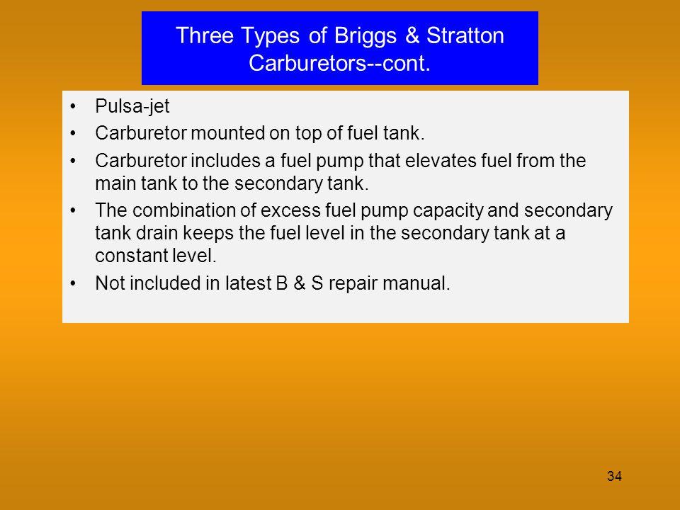 34 Three Types of Briggs & Stratton Carburetors--cont. Pulsa-jet Carburetor mounted on top of fuel tank. Carburetor includes a fuel pump that elevates