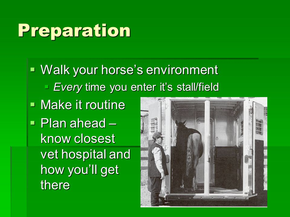 Preparation  Walk your horse's environment  Every time you enter it's stall/field  Make it routine  Plan ahead – know closest vet hospital and how you'll get there