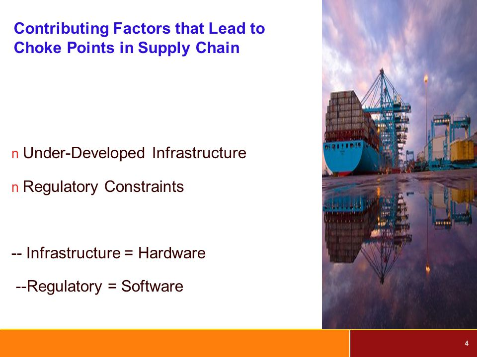 4 Contributing Factors that Lead to Choke Points in Supply Chain n Under-Developed Infrastructure n Regulatory Constraints -- Infrastructure = Hardware --Regulatory = Software