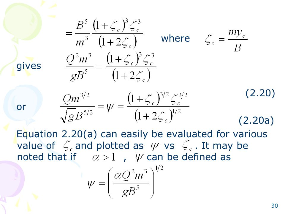 30 where gives (2.20) or (2.20a) Equation 2.20(a) can easily be evaluated for various value of and plotted as vs. It may be noted that if, can be defi