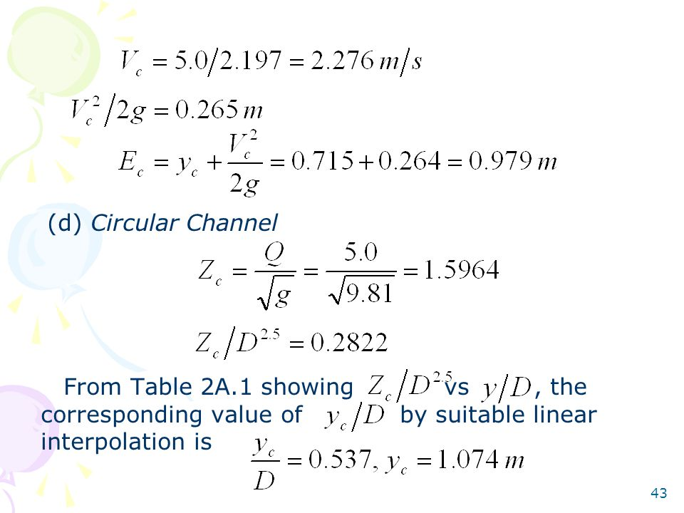 43 (d) Circular Channel From Table 2A.1 showing vs, the corresponding value of by suitable linear interpolation is