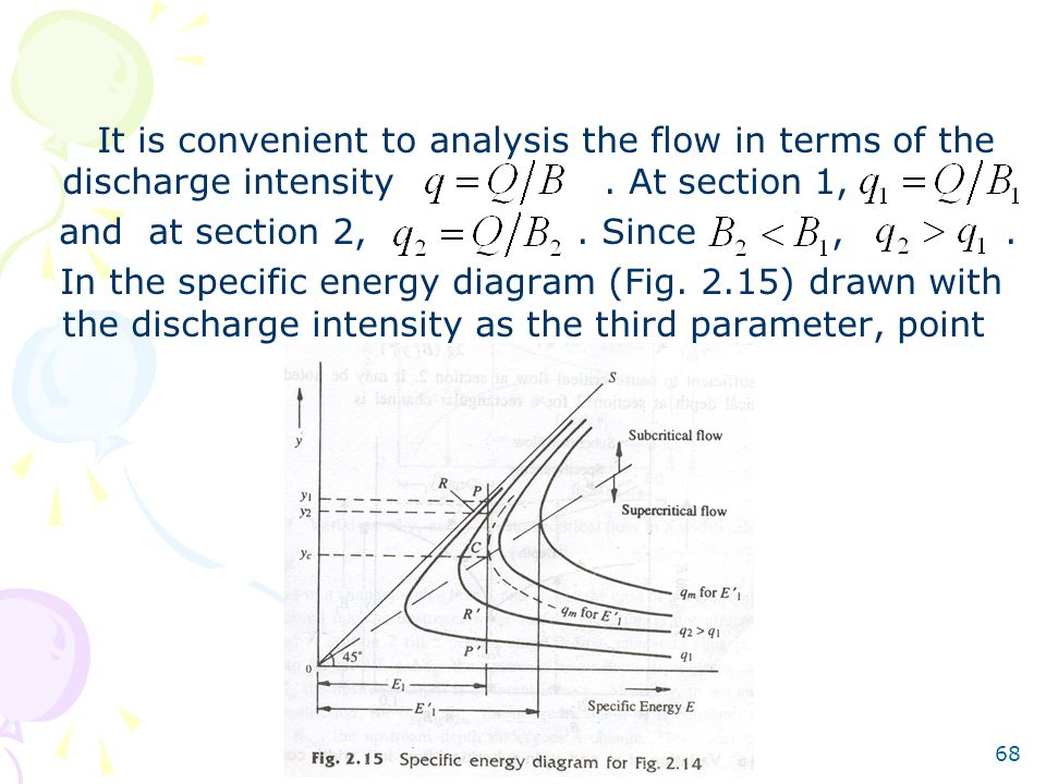 68 It is convenient to analysis the flow in terms of the discharge intensity. At section 1, and at section 2,. Since,. In the specific energy diagram
