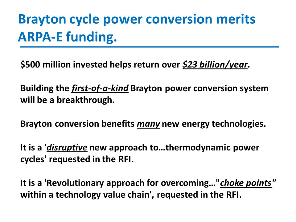 Brayton cycle power conversion merits ARPA-E funding.